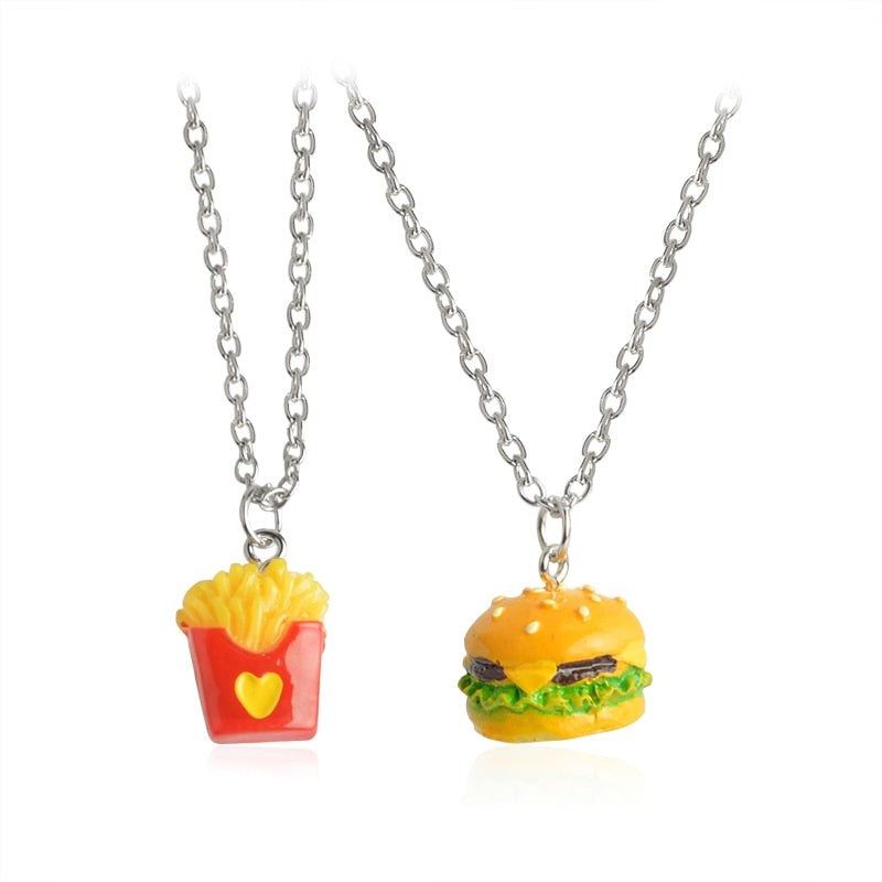 2pcs/set Mini Fast Food Pendant Necklace Long Miniature Cheeseburger French Fries Burger