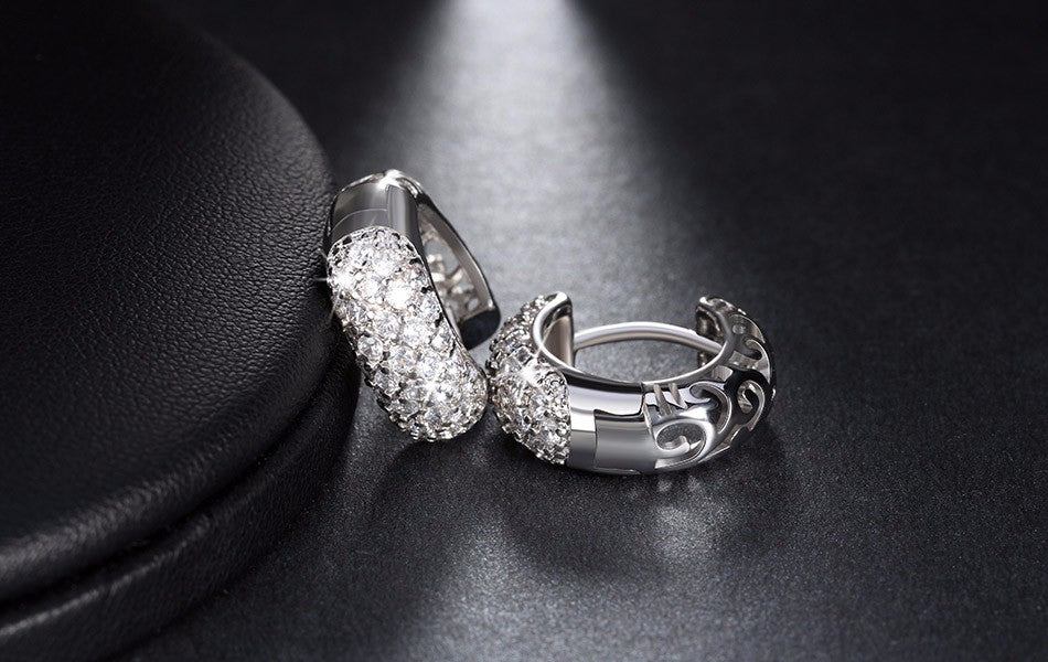 Luxury Small Circle Clear CZ Earring for Women