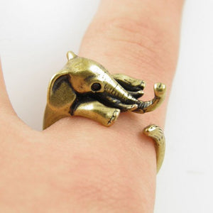 Adorable Silver Adjustable Elephant Wrap Rings