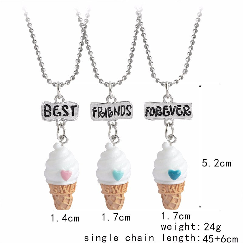 Best Friends Forever Ice-cream Necklace 3pcs/set