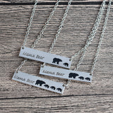 Mama Bear Tag Engraved Animal Pendant Necklace