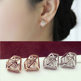 New Hot 2018 Popular earrings Hollow Crystal Rhinestones Ear Stud Earrings Gift