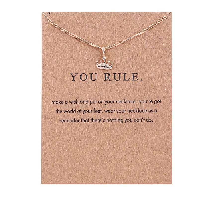 You Rule Crown Alloy Clavicle Bones Jewelry Necklace