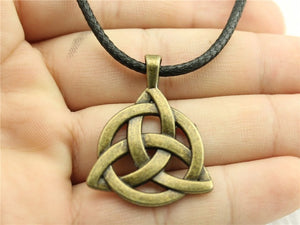Triquetra Symbol pendant with leather chain necklace