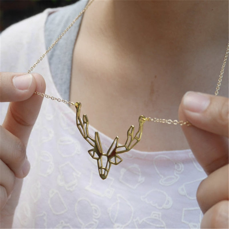 Fashion Jewelry Origami Antler Necklace Unique Deer