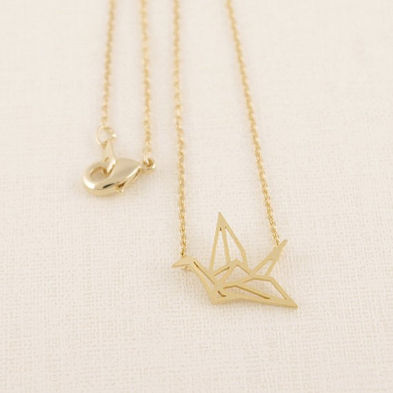Origami Crane Pendant Necklaces