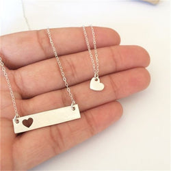 Mothers Day Heart and Bar Necklace