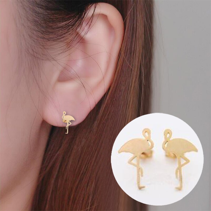 Punk Cute Animal Flamingo Brass Stud Earrings for Women