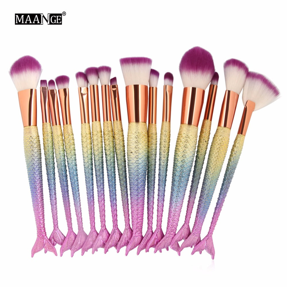 6-15PCS Mermaid Makeup Brushes Set