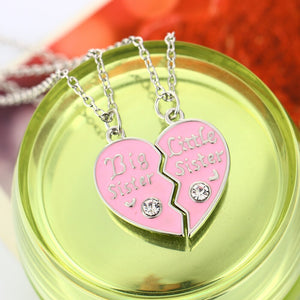 Pink Heart shaped Zircon Pendant Necklaces Sister Chains Best Friends Forever Gift