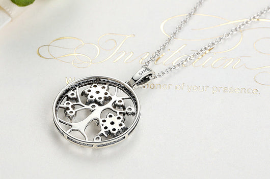 Classic Tree of Life Round Pendant Necklace with 925 Sterling Silver chain