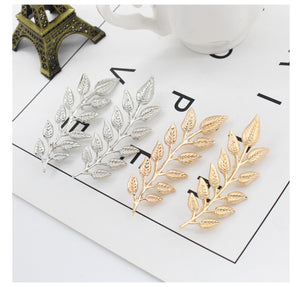 1Pair Exquisite Tree Leaf Pins Brooches For Women