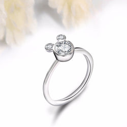 Cubic zirconia Wedding Mickey Shape Finger Ring