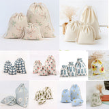 Handmade Drawstring Cotton Linen Storage Bag for Jewelry/Makeup/Cosmetic