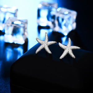 Starfish Earrings With Silver Color Clear CZ Stud Earring