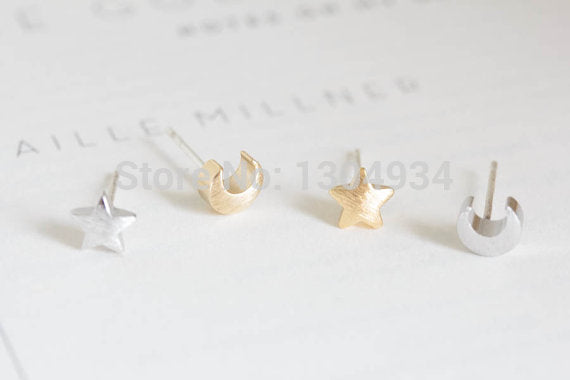Tiny Cute Teens Moon and Star Stud Earrings for Women