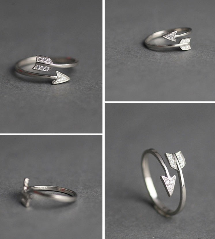Sparkling crystal arrow ring for women - Adjustable