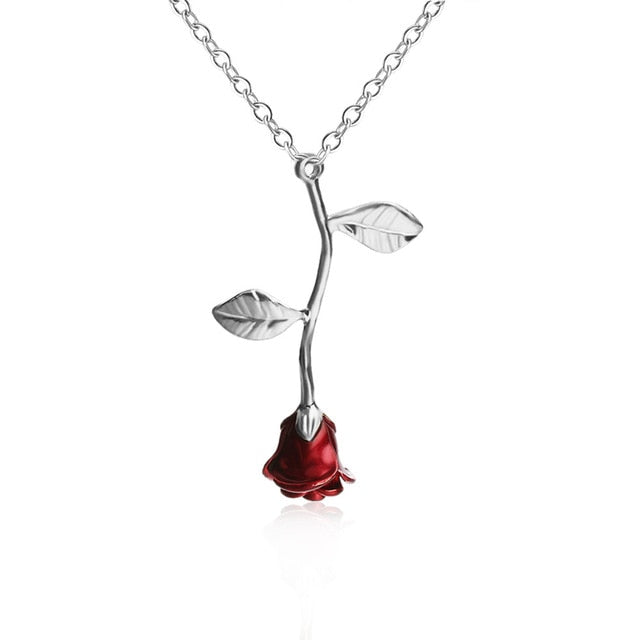 Red Rose Statement Necklace for Women