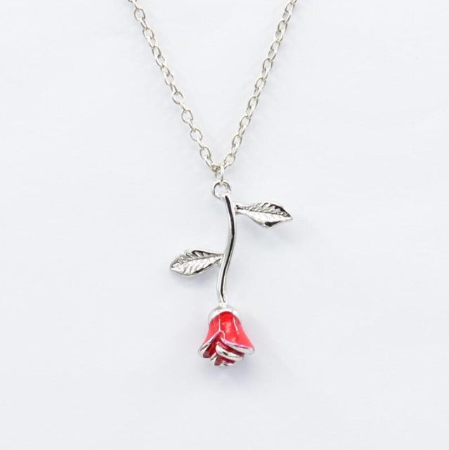 Beauty and the Beast Necklace Long Roses Flower Pendant