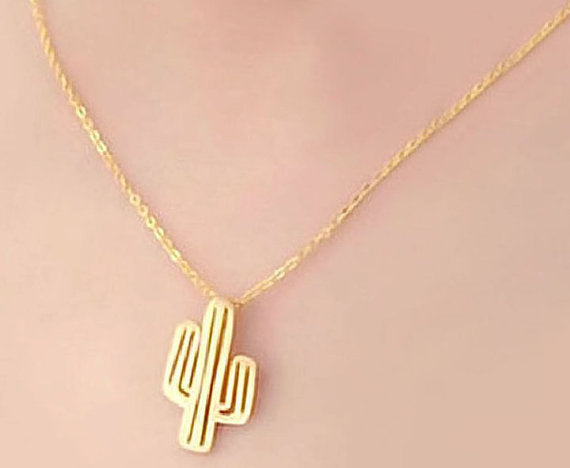 The Cactus Pendant Necklace - Simple Style - Elegant