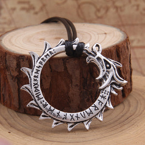 Dragon Viking Runic Circle Pendant Necklace