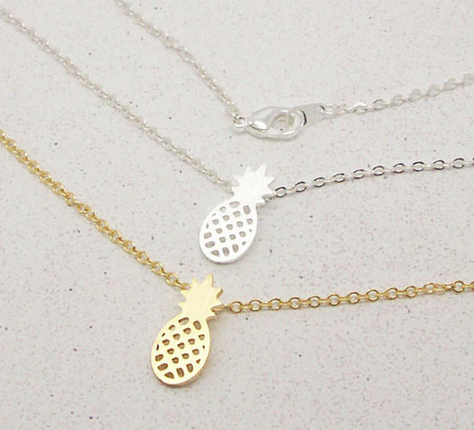 New Arrival Gold and Silver Dainty Pineapple Pendant Necklace