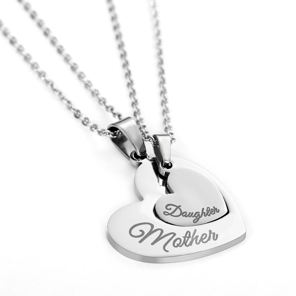 Women Double Heart Silver Necklaces Stainless Steel Mother Daughter Couple Jewelry Pendants