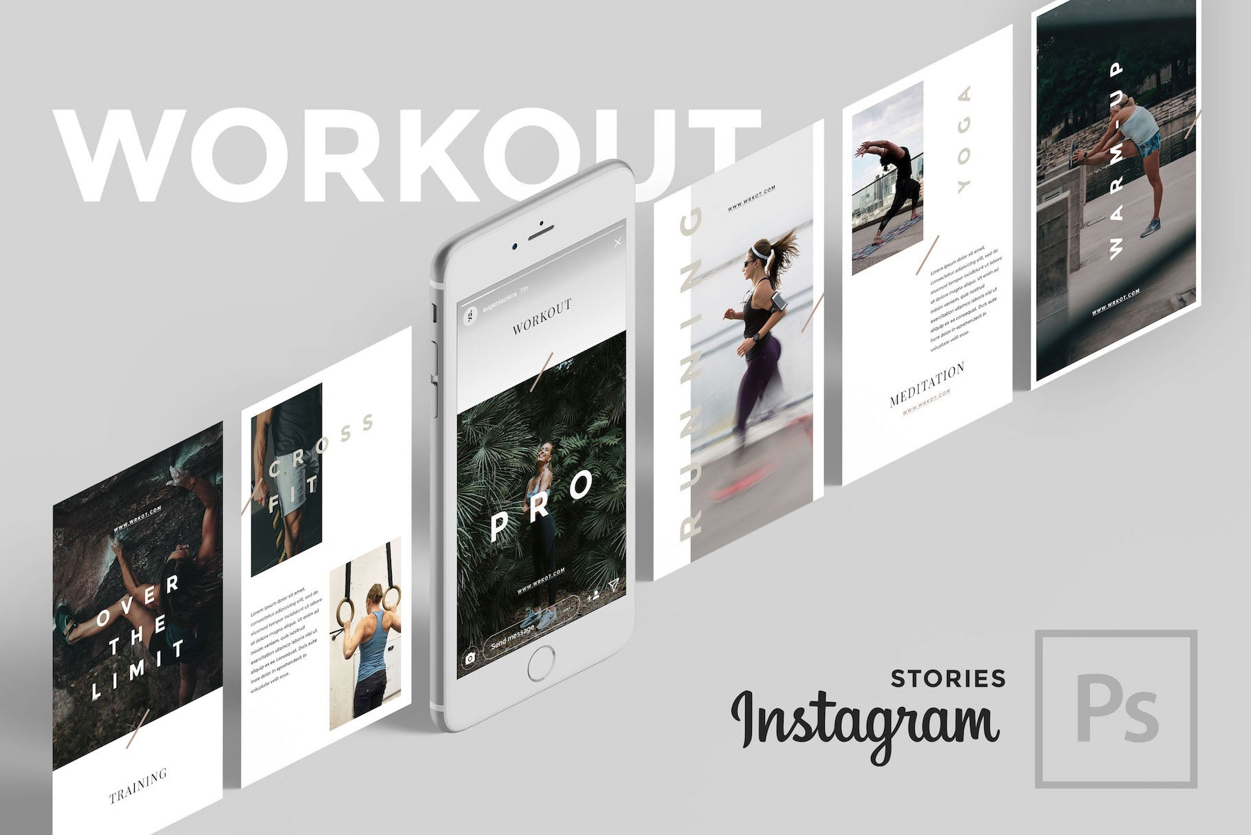 Workout PSD Instagram Stories Social Media Pack GoaShape
