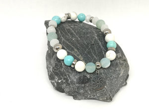 Blue & White Toned Gemstone Bracelet with Sun Charm
