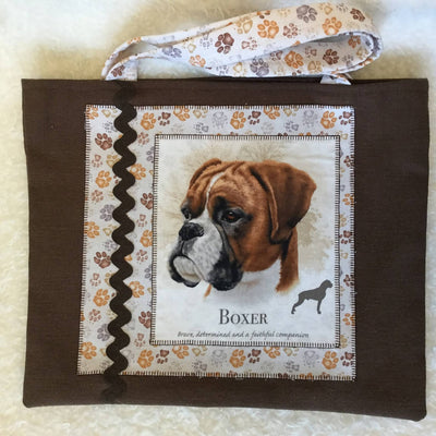 Lined Fabric Tote Bags - Dog Theme Applique - Sml