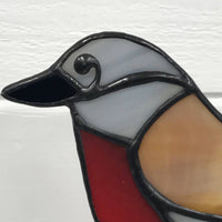 Stained Glass Bird on Driftwood - Robin