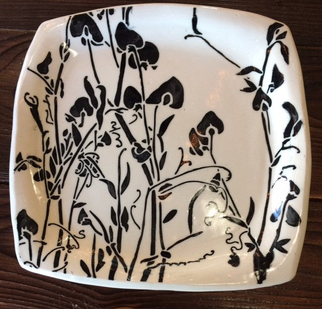 Square Black & White Themed Plate