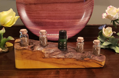 Handcrafted Live Edge Maple Wood Essential Oil Holder - 5 Bottle