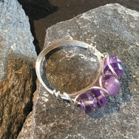 5-Stone Amethyst Natural Gemstone Hand Twisted Sterling Silver Ring Size 10 1/2