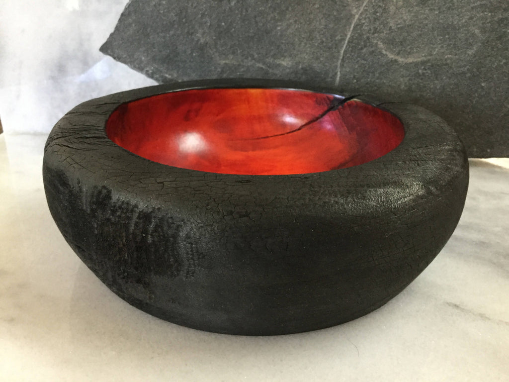 """Ring of Fire"" Aspen Wood Hand Turned Bowl"