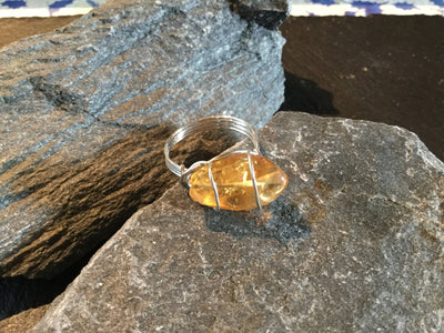 Citrine Natural Gemstone Hand Twisted Sterling Silver Ring Size 9