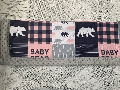 Minky baby blanket- pink baby bear