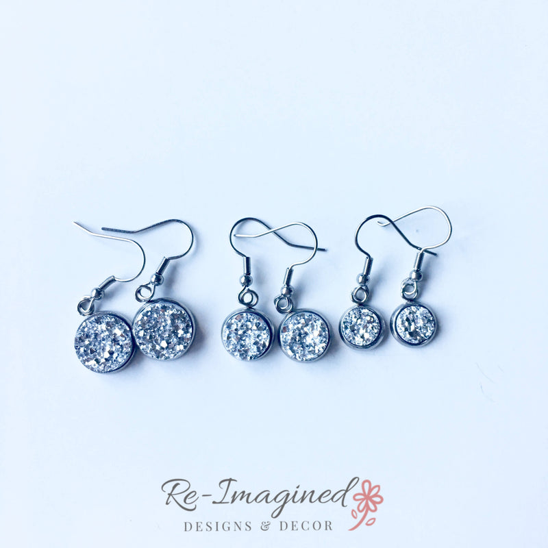 10mm Druzy Geode / Resin Fish Hook Earrings - Stainless Steel