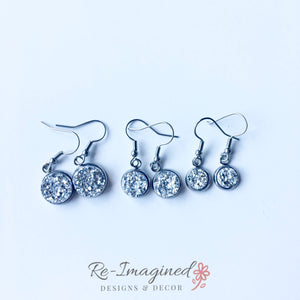 8mm Druzy Geode / Resin Fish Hook Earrings - Stainless Steel