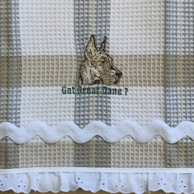 Waffle Tea Towels Cream Plaid Embroidered Dog Themed