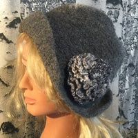 Hand Felted Wool Flapper Style Hat with Flower - Dark Grey