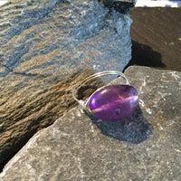 Amethyst Natural Gemstone Hand Wrapped Sterling Silver Ring Size 9