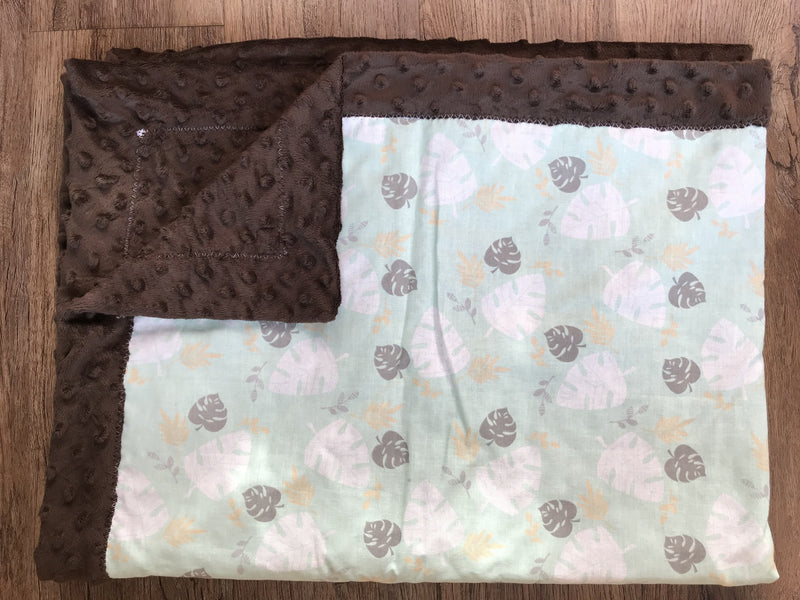 Minky Baby Blanket- Green Leaves with Brown Minky