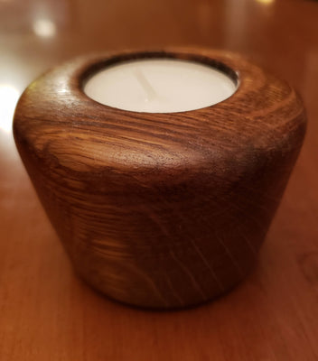 Handmade Red Oak Wood Tea Light Holder