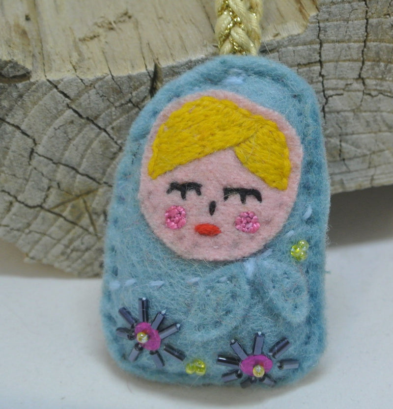 Light Blue Felt Russian Doll Ornament