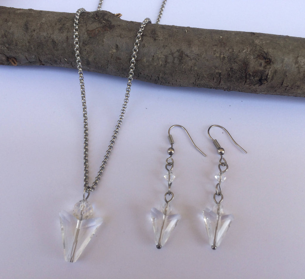 Clear Swarovski Crystal Arrowhead Necklace & Earring Set