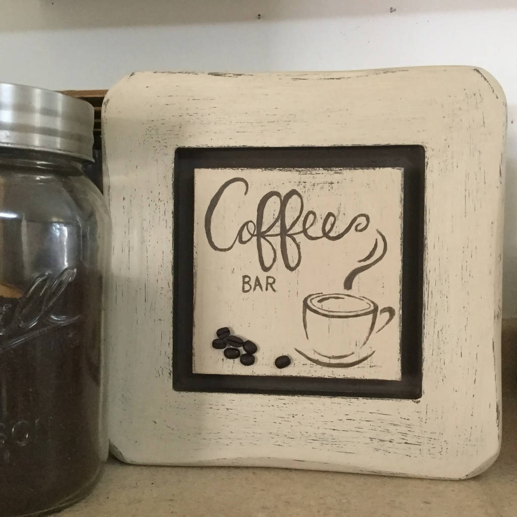 Hand Painted Rustic Coffee Bar Kitchen Sign