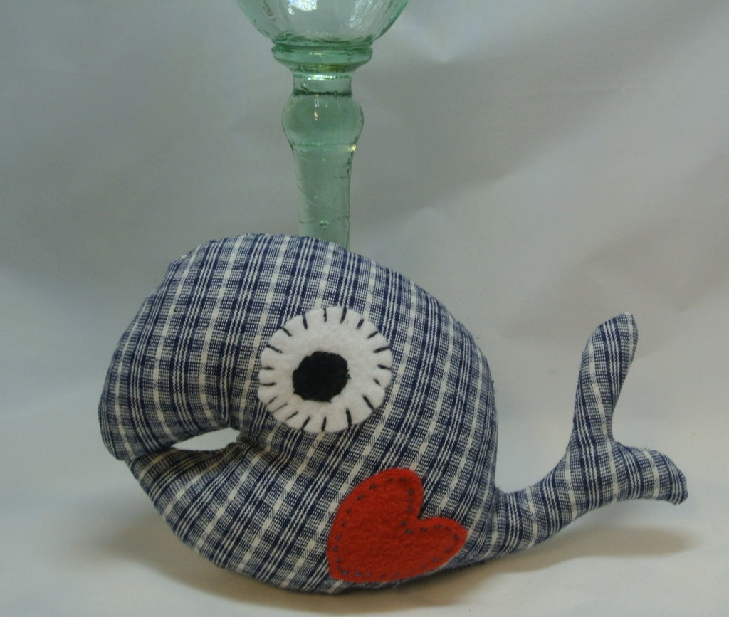 Blue Checkered Whale with a Felt Heart