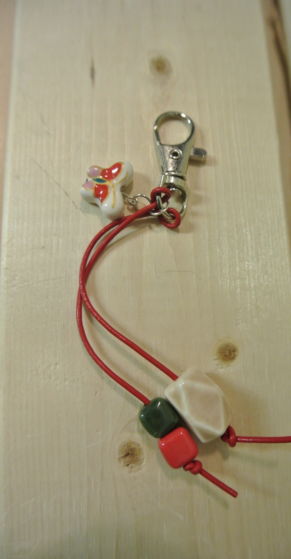 Pink and Red Butterfly Purse Charm