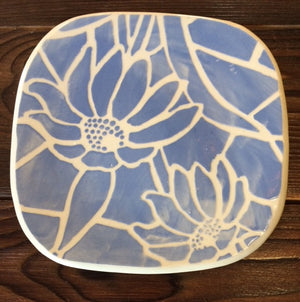 Blue and White Floral Pottery Trivet